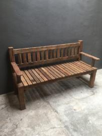 Stoere houten bank tuinbank 160 cm lounge eetkamertafelbank met rugleuning zware kwaliteit stoer landelijk