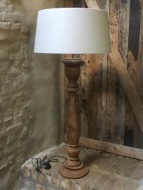 Stoere naturel bruine houten balusterlamp vloerlamp 90 cm tafellamp landelijk stoer robuust