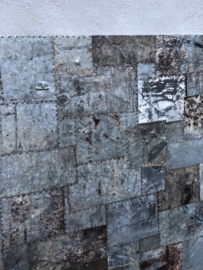 Groot metalen patchwork Wandpaneel 122 x 122 cm wanddecoratie tafelblad paneel scherm Luik metaal grijs grijsbruin metalen