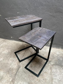 bijzettafel bijzettafeltje bank tafeltje grijs zwart industrieel landelijk stoer de grote maat