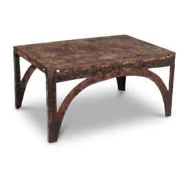 Industriële metalen salontafel bijzettafel tafel 92 x 61 x H47 cm gerecycled metaal ijzer industrieel urban vintage landelijk grijsbruin stoer