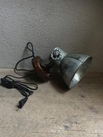 Industriële oud gerecycled metalen met houten spotje hanglamp industrieel urban wandlamp 1 grijze kap spot spots plafondlamp plafoniere metaal verstelbaar landelijk stoer vintage