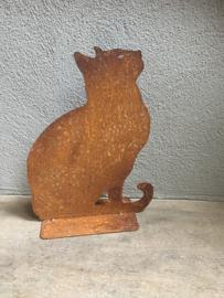 Plaatstalen plaatstaal poes kat kater ijzer metaal roest zittende zittend beeld landelijk brocant metalen ijzeren