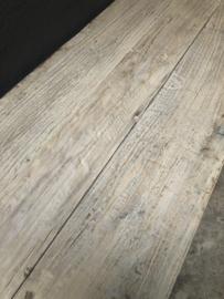 Oude licht vergrijsd houten kast 170 x 45 x H92 cm  dressoir Werkbank sideboard Sidetable ladekast deurtjes landelijk sober stoer
