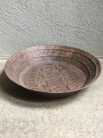 Oude metalen zeef bak schaal landelijk stoer Brocant industrieel bruin
