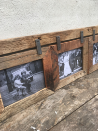 Grote railway ( vergrijsd ) houten fotolijst geschikt voor 3 foto's fotolijstjes oud hout landelijk combi lijst