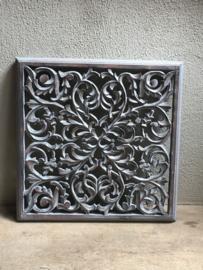 Stoer landelijk oud houten wandpaneel 90 x 90 cm grijs grijze wandornament luikjes wandpanelen wanddecoratie hout panelen luiken