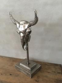 Gave grote chroom nickel metalen bull groot op statief stier schedel gewei hoorns koe stier raam decoratie stoer vintage industrieel landelijk