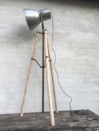 Industriële bruin grijze metalen houten vloerlamp 150-180 cm leeslamp staande lamp industrieel landelijk stoer