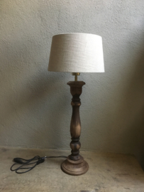 Stoere naturel bruine houten balusterlamp vloerlamp 100 cm tafellamp landelijk stoer robuust