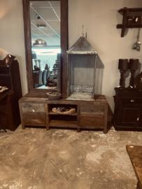 Stoer oud vergrijsd houten dressoir kast tv audio meubel 160 x 60 x 47 cm televisiekast kast sidetable landelijk vergrijsd oud massief Bassano