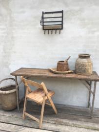 Oude naturel houten klapstoel klapstoeltje stoel retro stoelen stoeltje stoeltjes bistro vintage klapstoelen klapstoeltjes landelijk stoer vintage industrieel
