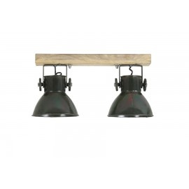 Industriële metalen hanglamp urban wandlamp plafondlamp 2 groene legergroene army khaki  kappen spot spots metaal verstelbaar landelijk stoer vintage