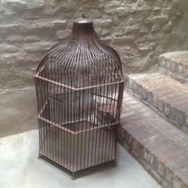 Grote smeedijzeren kooi vogelkooi lamp lampenkap kandelaar industrieel vintage urban kandelaar papegaaienkooi landelijk bruin