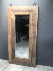 Grote stoere landelijke spiegel passpiegel 200 x 100 cm Bassano industrieel metalen ringen