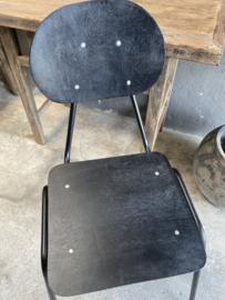 Modern zwart Zwarte stoel stoelen hout metaal combinatie industrieel