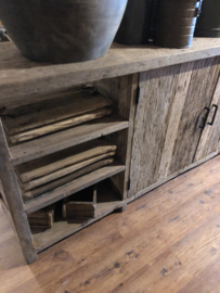 Stoer oud vergrijsd truckwood railway dressoir 220 x 45 x H81 cm televisiemeubel televisiekast stoer landelijk industrieel