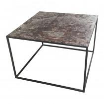 Gerecycled metalen tafel salontafel bijzettafel 80 x 80 cm landelijk industrieel vintage urban stoer grijsbruin metaal
