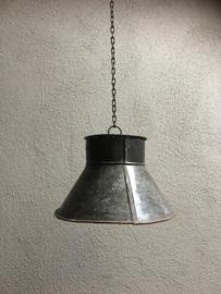 Industriele landelijke metalen lampekap voor hanglamp incl ketting grijs bruin grijsbruin  industrieel landelijk