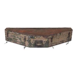 Stoere oude metalen kist 112 x 46 x 20 cm industrieel oud metaal vintage landelijk trommel opbergkist