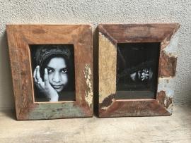 Stoer sloophouten lijst lijstje fotolijstjes oud hout  A3 oude houten fotolijst industrieel landelijk vintage urban