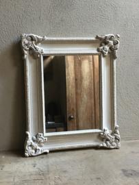 Landelijke houten spiegel rustiek 59 x 49 cm grijs taupe beige wit doorgeschuurd landelijke stijl Brocant