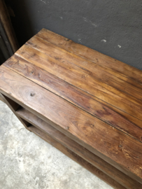 Oud houten schap rek keukenrek kast planken landelijk industrieel vintage schap boeren bakkersrek broodrek  boerenkeuken winkelkast keukenkast