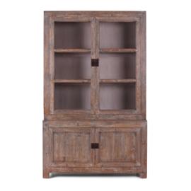 Grote oud houten kast 220 x 136 x 50 cm glaskast vitrinekast keukenkast glas glazen deurtjes grijs landelijke kast