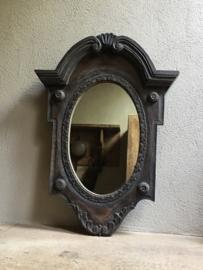 Prachtige grote Houten spiegel spiegeltje osseoog ossenoog oeil de boeuf landelijk mat zwart antraciet hout