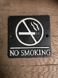 Gietijzeren bordje tekstbord no smoking verboden te roken