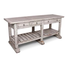 Stoere oude houten witte tafel werkbank keukenblok kookeiland marmer inleg blad sidetable keukentafel stoer vintage doorgescheurd landelijk industrieel 209 x 64 x 87 cm