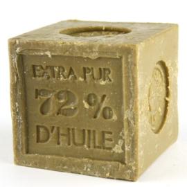 Grof blok savon de  Marseille zeep olijfolie olijfgroen khaki army landelijk robuust stuk 300 gram
