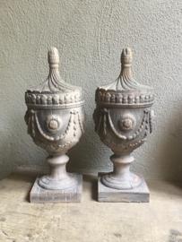 Stoer ornament decoratie pion baluster urn vaas landelijk grijs beige