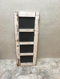 Oud sloophouten krijtbord in origineel oud kozijn 114,5 x 43 cm wit venster wandbord schoolbord vintage landelijk industrieel schrijfbord stoer