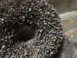 Bakuli wreath krans beukennootjes vergrijsd 40 cm grijs grey wash beuk landelijk