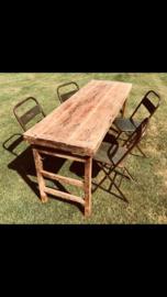 Oude landelijke industriële eettafel naturel 140/155 x 70/75 cm hout houten Sidetable bureau buro tuintafel klaptafel werkbank werktafel oud vintage stoer