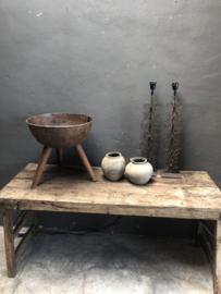 Bruin metalen schaal op pootjes vuurschaal vuurkorf stoer urban landelijk industrieel vintage