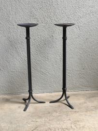 Smeedijzeren kandelaar vloerkandelaar landelijk stoer tafelkandelaar  industrieel 40 cm hoog