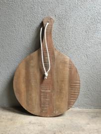 Oud rond houten broodplank dienblad ronde plank kaasplank met touw 40 cm landelijk stoer robuust vintage industrieel