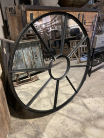 Groot rond zwart metalen stalraamspiegel ronde stalraam kozijn venster tuinspiegel 100 cm spiegel rond zwart kozijn venster landelijk industrieel vintage