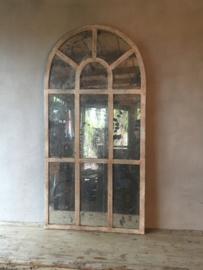 Groot grote stalraamspiegel tuinspiegel spiegel antiek look glas verweerd stalraam kozijn venster 120 x 60 cm
