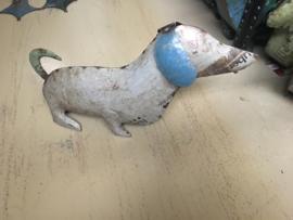 Stoere metalen blikken hond teckel tekkel teckeltje hond Dog decoratie speelgoed blik  hondje landelijk vintage industrieel