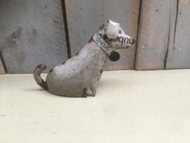 Stoere kleine metalen blikken hond teckel tekkel teckeltje grijs grijze hond Dog decoratie speelgoed blik  hondje landelijk vintage industrieel