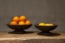 Grijs houten schaal fruitschaal vergrijsd 30 cm 10 cm hoog landelijk stoer shabby zwartgrijs antraciet antreciet vintage urban schaaltje