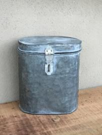 Zinken metalen bak zink koffer kist landelijk industrieel nieuw stoer Brocant verzinkt grijs industrieel