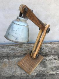 Vintage industriële lamp tafellamp Burolamp bureaulamp wandlamp landelijk industrieel hout metaal zink zinken