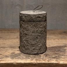 Vergrijsd houten potje met deksel stoer landelijk grijs 18 x 12 cm