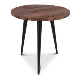 Grote ronde vergrijsd houten tafel eettafel rond 80 cm landelijk stoer robuust grijs hout metalen poot