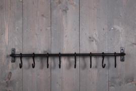 Massief smeedijzeren wandrek wandkapstok haakjes stang roede met haakjes wandhaken landelijk industrieel 75 cm