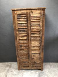 Houten 2 deurs 4 lades kast met Louvre deurtjes hoge hoog 2 deuren deurs landelijk naturel 184 x 82 x 40 cm meubel legplanken landelijk